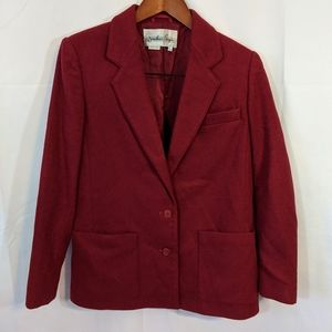 Vintage red wool blend two button blazer